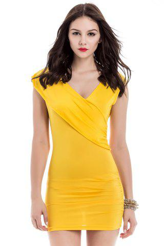Buy V-Neck Ruffled Sleeveless Bodycon Club Dress YELLOW ONE SIZE