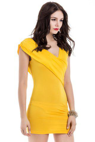 Unique V-Neck Ruffled Sleeveless Bodycon Club Dress - ONE SIZE YELLOW Mobile