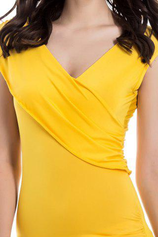 Affordable V-Neck Ruffled Sleeveless Bodycon Club Dress - ONE SIZE YELLOW Mobile