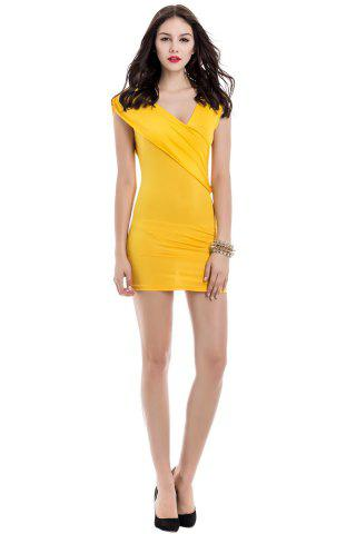 Discount V-Neck Ruffled Sleeveless Bodycon Club Dress - ONE SIZE YELLOW Mobile
