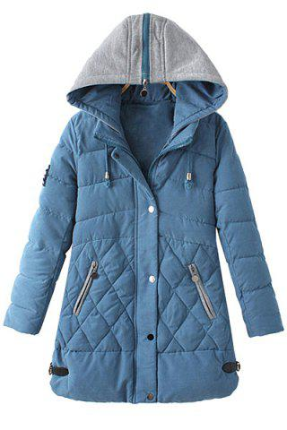 Casual Hooded Zipper Applique Draw Cord Long Sleeve Coat For Women
