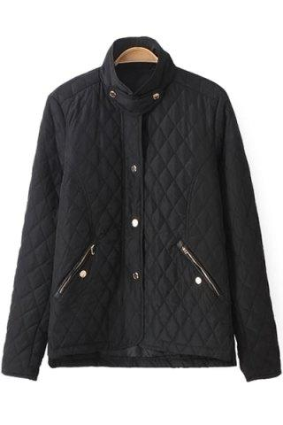 Outfits Fashionable Stand Collar Long Sleeve Solid Color Quilting Women's Jacket - L BLACK Mobile