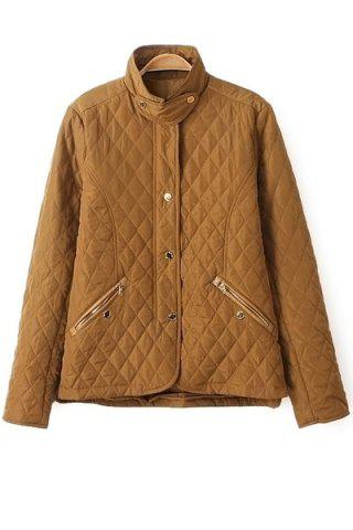 Trendy Fashionable Stand Collar Long Sleeve Solid Color Quilting Women's Jacket - S YELLOW Mobile