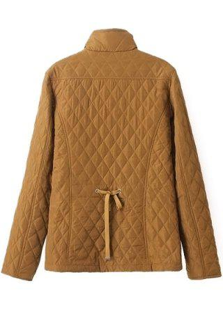 Shops Fashionable Stand Collar Long Sleeve Solid Color Quilting Women's Jacket - S YELLOW Mobile