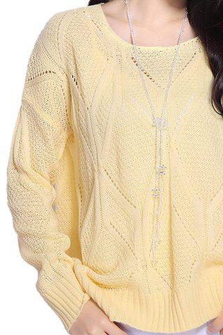 Affordable Stylish Scoop Neck Long Sleeve Solid Color Hollow Out Women's Sweater - ONE SIZE LIGHT YELLOW Mobile