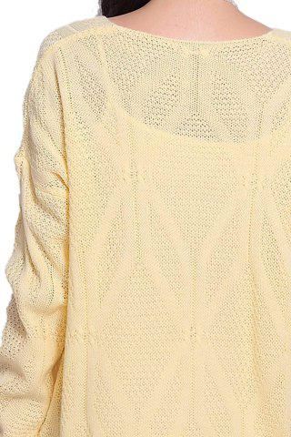 Fancy Stylish Scoop Neck Long Sleeve Solid Color Hollow Out Women's Sweater - ONE SIZE LIGHT YELLOW Mobile