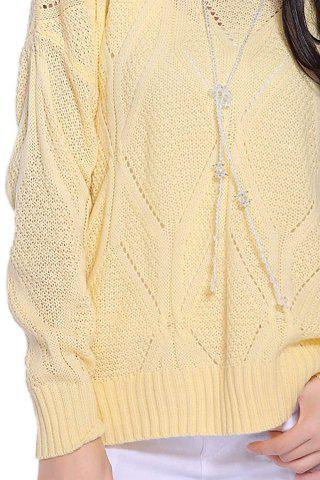 Shops Stylish Scoop Neck Long Sleeve Solid Color Hollow Out Women's Sweater - ONE SIZE LIGHT YELLOW Mobile