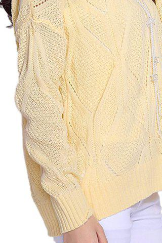 Best Stylish Scoop Neck Long Sleeve Solid Color Hollow Out Women's Sweater - ONE SIZE LIGHT YELLOW Mobile