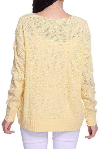 Chic Stylish Scoop Neck Long Sleeve Solid Color Hollow Out Women's Sweater - ONE SIZE LIGHT YELLOW Mobile