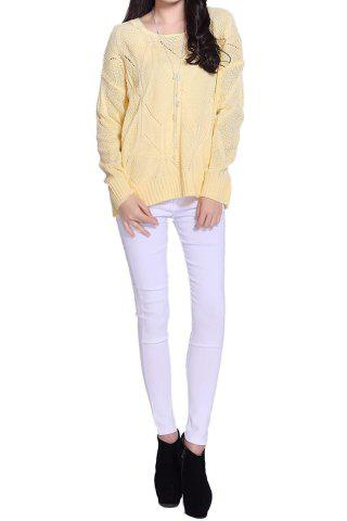 Latest Stylish Scoop Neck Long Sleeve Solid Color Hollow Out Women's Sweater - ONE SIZE LIGHT YELLOW Mobile