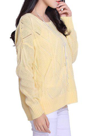 Sale Stylish Scoop Neck Long Sleeve Solid Color Hollow Out Women's Sweater - ONE SIZE LIGHT YELLOW Mobile