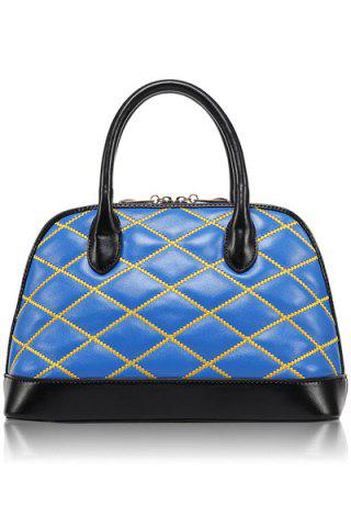 Trendy Color Block and Checked Design Women's Tote Bag - Blue
