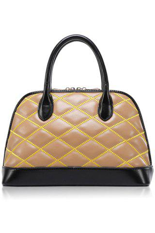 Trendy Color Block and Checked Design Women's Tote Bag - Apricot - M