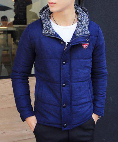 Stylish Hooded Slimming Badge Design Floral Splicing Manteau à manches longues Manteau en mousseline de coton pour hommes - BLUE - M