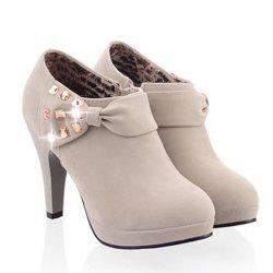 Elegant Bow and Rhinestones Design Women's Ankle Boots -