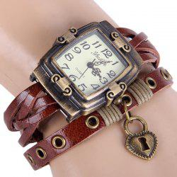 Yulan Female Vintage Style Quartz Watch Rectangle Dial Leather Wristband -