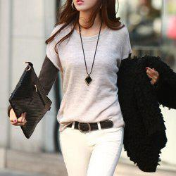 Casual Style Scoop Neck Color Block Long Sleeve Women's T-Shirt