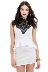 Peplum Dress Sexy stand-up sans manches, col Spliced ​​Bodycon Backless femmes - Blanc