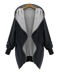 Elegant Hooded Long Sleeve Zippered Coat For Women -