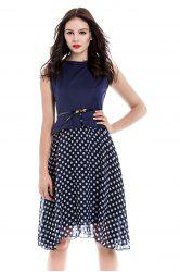 Polka Dot Sleeveless Knee Length A Line Dress - CADETBLUE