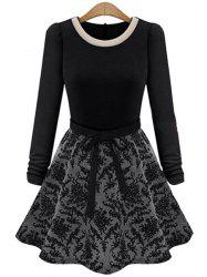 Simple Round Collar Long Sleeve Spliced Lace-Up Women's Dress -