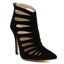 Elegant Stiletto Heel and Hollow Out Design Women's Pumps - BLACK