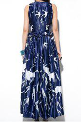 Stylish Jewel Neck Sleeveless Birds Print Long Dress For Women