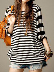 Casual Scoop Neck Striped Dolman Sleeve Loose-Fitting T-Shirt For Women