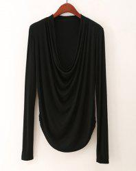 Draped Collar Long Sleeve Plain T-Shirt