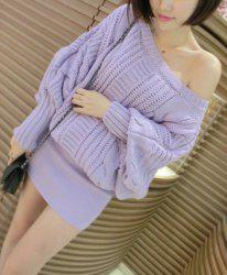 Stylish Slash Neck Hemp Flowers Knitted Batwing Sleeve Women's Dress - PURPLE