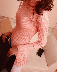 Stylish Turtle Neck Long Sleeve Lace Spliced Solid Color Women's Sweater