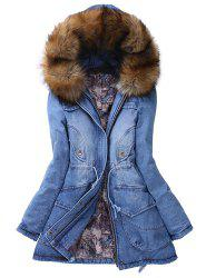 Hooded Denim Parka Coat   - BLUE