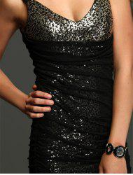 V-Neck Ruched Glitter Cocktail Prom Dress - WHITE