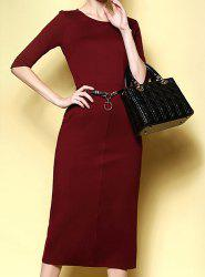 Simple Round Neck Solid Color Slimming Half Sleeve Women's Dress -