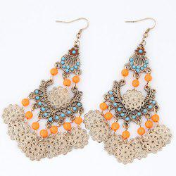 Pair of Bohemian Style Flower Drop Earrings -