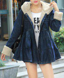 Stylish Hooded Solid Color Bleach Wash Long Sleeve Women's Coat