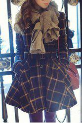 Stylish Stand Collar Plaid Lace-Up Long Sleeve Women's Coat -