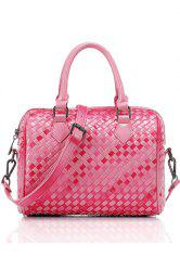 Retro Checked and Weaving Design Women's Tote Bag - RED