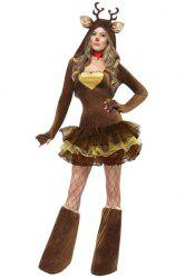 Sexy Hooded Long Sleeve Spliced Layered Women's Christmas Cosplay Costume -