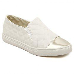Trendy Splicing and Checked Design Women's Flat Shoes -