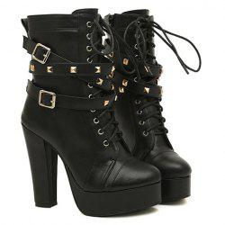 Fashion Buckles and Rivets Design Women's Chunky Heel Short Boots -