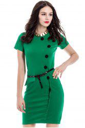 Button Up Sheath Dress with Short Sleeve - GREEN S