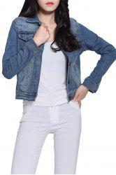 Long Sleeve Single-Breasted Panel Short Denim Jacket - BLUE