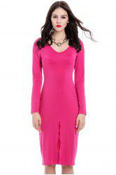 Sexy Front Split Design Long Sleeve Plunging Neck Women's Slim Fit Club Dress - ROSE MADDER
