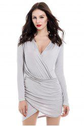 Asymmetrical Hem Long Sleeve Plunging Neck Packet Buttock Women's Dress - AS THE PICTURE