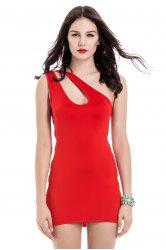 Sexy One Shoulder Cut Out Sleeveless Women's Bodycon Dress -
