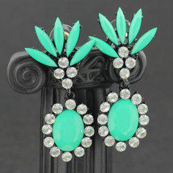 Pair of Oval Rinestone Embellished Drop Earrings - COLOR ASSORTED