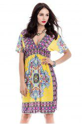 Bohemian Plunging Neck Short Sleeve Printed Women's Dress - YELLOW