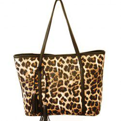 Gorgeous Leopard Print and Tassels Design Women's Shoulder Bag - BLACK