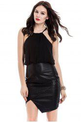Stylish Halter Sleeveless Faux Leather Splicing Dress For Women